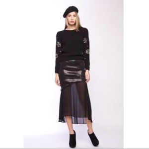 Line & Dot Layered, Tiered Sequin & Sheer Skirt